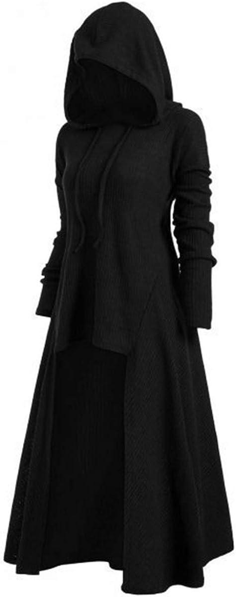 LATH.PIN Mantello con Cappuccio Donna Vintage Manica Lunga Medievale Abito Cosplay Casual con Cappotto Pullover Oversize Vestiti Irregolare Tinta Unita