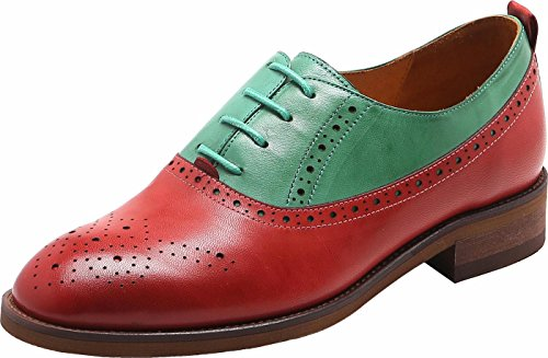 Brouge U Shoes Sheepskin lite Medallion Green Red Oxfords up Perforated Multicolor Womens Lace Dress qr8ZPqpw