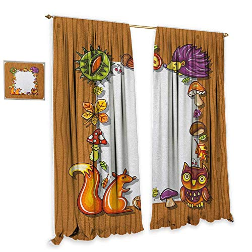 - cobeDecor Kids Thanksgiving Blackout Curtains Seasonal Frame with Natural Elements Acorns Hedgehog Squirrel Home Garden Bedroom Outdoor Indoor Wall Decorations 55