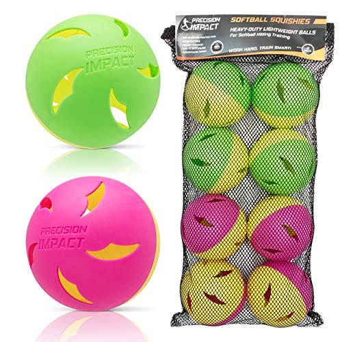 Precision Impact Softball Squishies: Heavy-Duty Lightweight Balls for Softball Hitting Training (8-Pack)