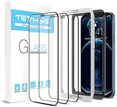 TETHYS Glass Screen Protector Designed for iPhone 11 / iPhone XR (6.1″) [Edge to Edge Coverage] Full Protection Durable Tempered Glass Compatible iPhone XR/11 [Guidance Frame Include] – Pack of 3