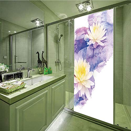 - LIANDAYUNS sticker 3D Privacy Glass Film No Glue,Lotus,Lotus Flowers in Water Yoga Meditation Plant Botany Bouquet Watercolor Art,Cream Purple Yellow,35.43