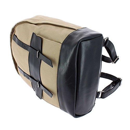 DUDU Zaino per PC porta Computer Notebook in Pelle e Tessuto resistente con tasca frontale e spallacci regolabili Schwarz