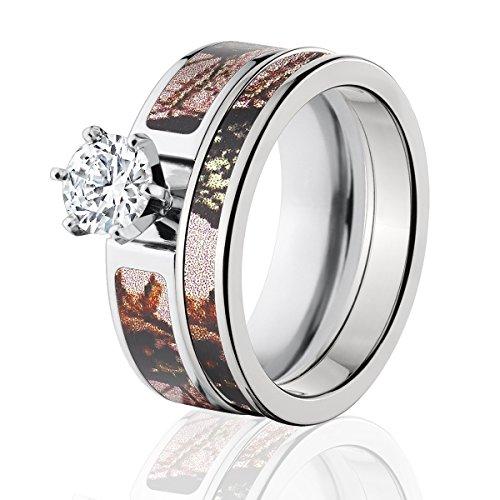 Mossy Oak Camo Bridal Set, Camo Wedding Rings, Pink Break-Up Camo Rings