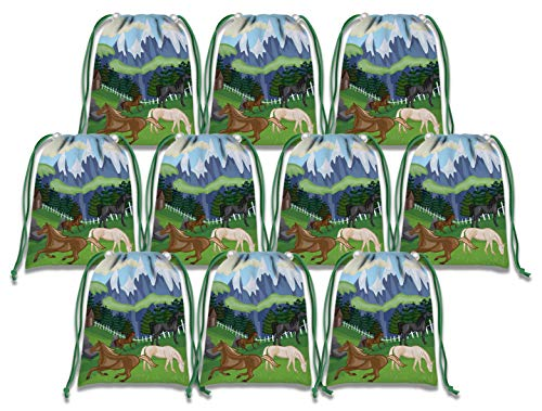 Wild Horses Drawstring Bags Kids Birthday Party Supplies Favor Bags 10 Pack -
