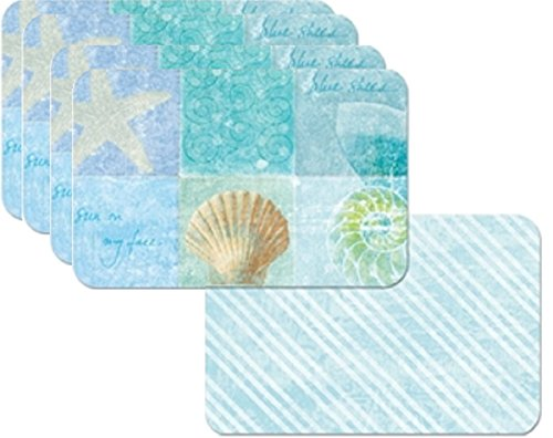 4-Seaside-Notebook-Seashell-and-Starfish-Theme-Placemats-Reversible-Washable-Plastic