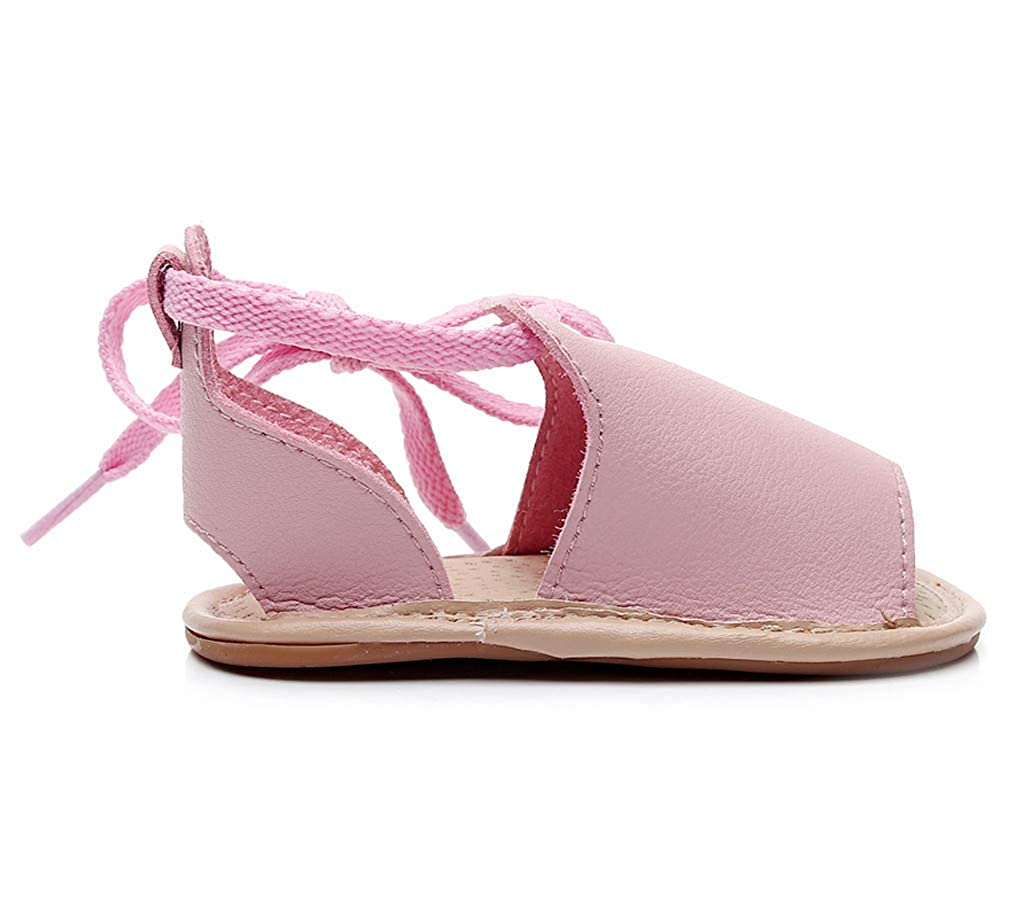 WARMSHOP❤️Baby Sandal,0-3 Years Old Infant Girls Beach Leather Rubber Sole Sandals Summer Sandals First Walkers Shoes