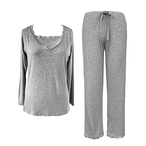 Sleepytime Sleepy Time Women's Bamboo Pajamas, Hot Flash Menopause Relief PJS, V Neck (X Large, Grey) -