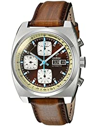 Mens Seadragon Swiss Automatic Stainless Steel and Leather Casual Watch, Color:Brown. Zodiac
