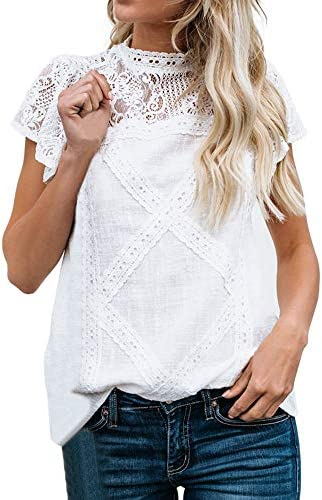 Womens Cotton Lace Breathable Cute Casual Blouse,Ladies Flare Ruffles Short Sleeve Floral Solid Fashion Shirt Tunic Top