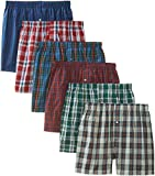 BVD Men's 6 Pack Tartan Boxer, Multi, Large 36-38
