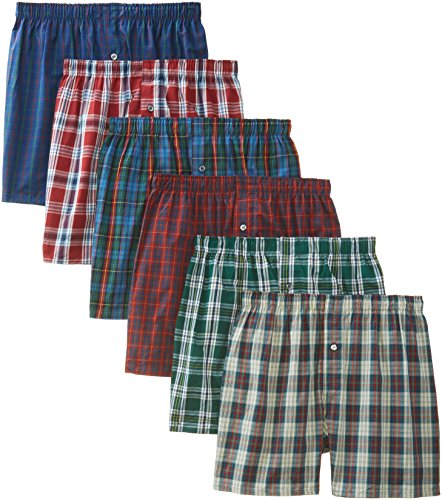 BVD Men's 6 Pack Tartan Boxer, Multi, X-Large 40-42