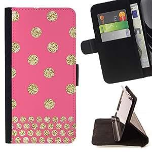 For Samsung Galaxy S5 V SM-G900 Case , Dot rosa del brillo del oro de Bling- la tarjeta de Crédito Slots PU Funda de cuero Monedero caso cubierta de piel