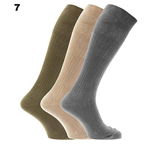 Mens Ribbed Knee High 100% Cotton Socks (Pack Of 3) (US Shoe 7 - 12) (Design 7)