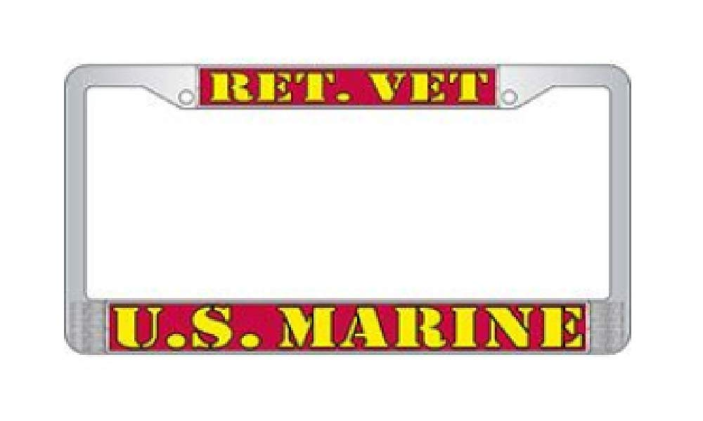 US Armed Forces Military Metal License Plate Frame United States Marine Corps USMC Retired EE