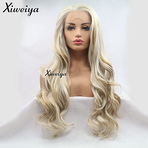 Xiweiya Natural Haircut Blonde Mixed Golden Color Long Loose Wave Synthetic Lace Front Wigs Heat Resistant Fiber Hair For White Women Free Part Replacement Full Wig
