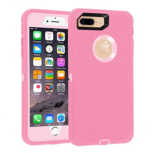 "Case for iPhone 7 Plus/8 Plus Heavy Duty Armor 3 in 1 Built-in Screen Protector Rugged Cover Dust-Proof Shockproof Drop-Proof Scratch-Resistant Shell Compatible with Apple iPhone 7+/8+ 5.5"",Rose Gol"