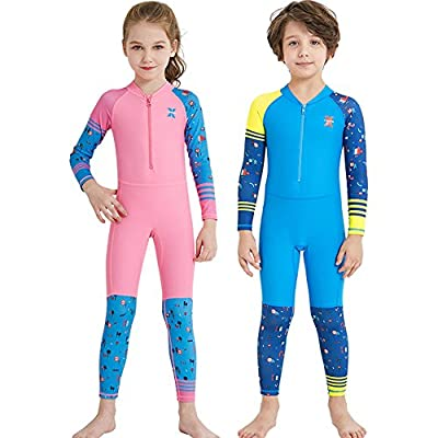 SOXDirect Kids Swimsuits One Piece Neoprene Wet Suits for Boys Girls Long Sleeve UPF50+ Quick Dry Swimming Wear