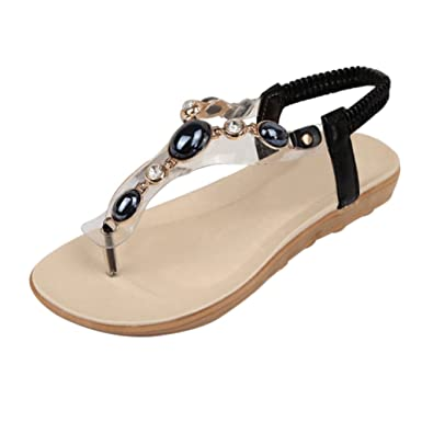 ZOEREA Damen Sandalen Schuhe Knöchelriemen Roman Geflochtene T-Strap  Gladiator Sandalen Flats Thong Sandalen Sommer