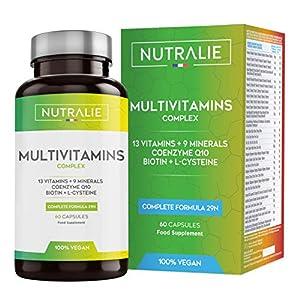 Multivitamines et Minéraux 29 Nutriments Essentiels | Complexe de Vitamines Vegetaliènne A, B, C, D, E, K, Biotine, L…