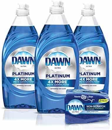 Dawn Platinum Dishwashing Liquid Dish Soap (3x24oz) + Non-Scratch Sponge (2ct), Refreshing Rain
