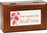 You Mean the World to Me Wood Finish Petite Jewelry Music Box Plays Wonderful World