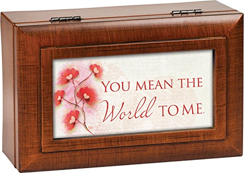 You Mean the World to Me Wood Finish Petite Jewelry Music Box Plays Wonderful World by Cottage Garden (Image #9)