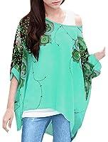 Allegra K Woman Novelty Prints Batwing Sleeve Semi Sheer Loose Chiffon Tunic Top