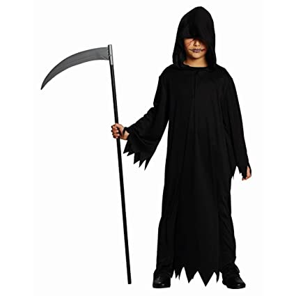 Hábito negro Traje Muerte de disfraz de Halloween para niños con el espíritu de la Edad Media sayal verdugo capa Padre tiempo para lavabo de la muerte ...