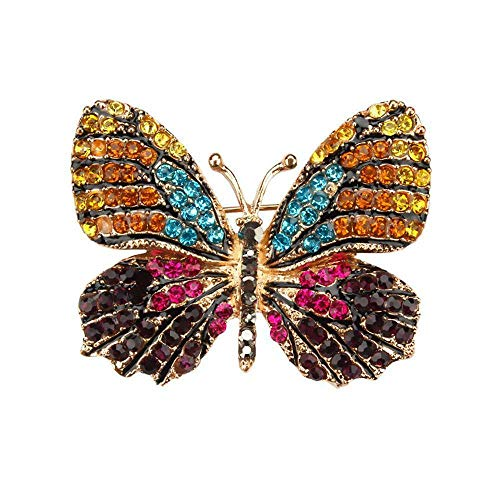 Multi-Color Pave Setting Crystal Rhinestones Butterfly Brooch Pins for Women (Color - 1) ()