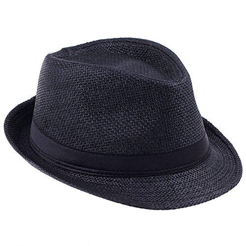 Elee Unisex Kids Straw Trilby Fedora Cap Jazz Hat Short Brim Sunat (#2 Black)