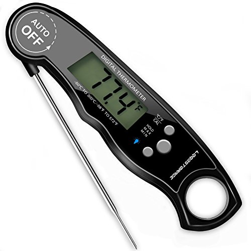 Meat Thermometer LQQBSTORAGE Digital Waterproof instant read thermometer with Calibration and Backlit Function Instant Read Meat Thermometer for Grill and Cooking, Kitchen, Food, Tea, BBQ (black)