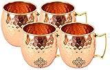 IndianArtVilla Set of 4 Pure Copper Hammered Mug Moscow Mule Brass Handle 18 Oz each - Beer Wine Cocktail Drinkware Bar Hotel Restaurant Tableware