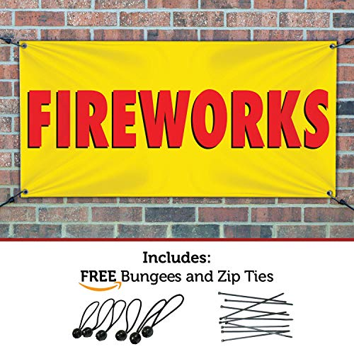 HALF PRICE BANNERS | Fireworks Vinyl Banner | Heavy Duty Outdoor | 4'x12' Yellow | Free Ball Bungees & Zip Ties | Easy Hang Advertising Sign | Business Holiday Celebration | Various Size | Made in USA