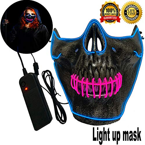 Halloween Mask Neon Mask led mask Scary Mask Light up Mask Cosplay Mask Lights up for Halloween Festival Party (Half Mask Blue&Pink)