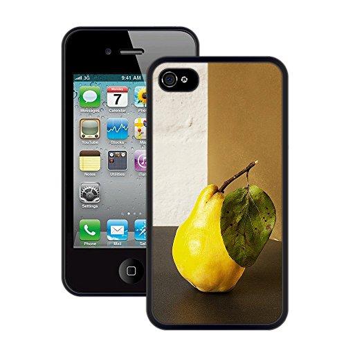 Birne | Handgefertigt | iPhone 4 4s | Schwarze Hülle