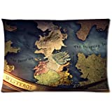 Game of Thrones Map of Westeros Two Sides Pattern Printed Custom Queen Size 20*30 Zippered Pillow Cases