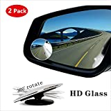 Automotive : Blind Spot Mirror,HD Glass Wide Angle Slim Round Frameless Convex Rear View Mirror 360°Rotate 30°Sway Adjustable Great for Car SUV Truck Van(2 Pack)
