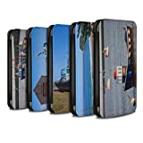 eSwish PU Leather Wallet Flip Case/Cover for Huawei P Smart/Pack 16pcs Design/British Coast Collection