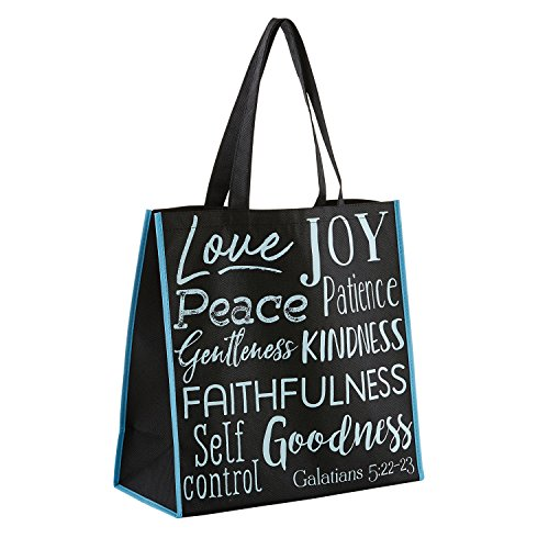 Fruits of the Holy Spirit Black 13 x 13 Inch Recycled Nylon Tote Bag