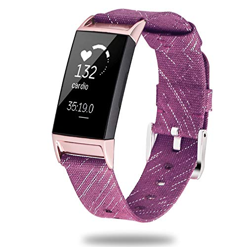 X4-Tech Bands Compatible with Fitbit Charge 3, Choose Color Woven Fabric Wristbands with Plastic Connector for Fitbit Charge 3 Watch Band & Fitbit Charge 3 SE (Dark Purple)