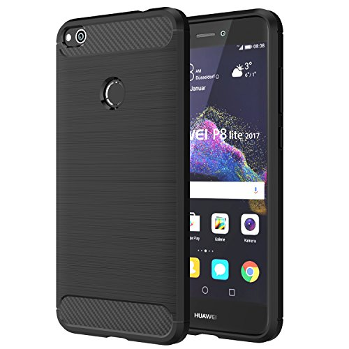 Price comparison product image Huawei P8 Lite 2017 Case, MoKo Flexible TPU Bumper Slim Fit Case Carbon Fiber Design Lightweight Shockproof Back Cover for Huawei P8 Lite 5.2 Inch (2017), BLACK