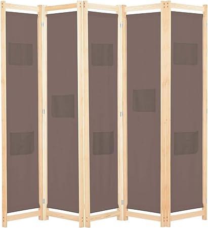 vidaXL Biombo Divisor de 5 Paneles de Tela Decoración Hogar Casa Jardín Bricolaje Salón Comedor Ambientes Habitaciones Separador 200x170x4 cm Marrón: Amazon.es: Hogar
