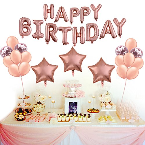 Rose Gold Birthday Decoration Supplies Set Of 22 Pink HAPPY BIRTHDAY Foil Balloon Banner Star Shaped Balloons Confetti And Latex For