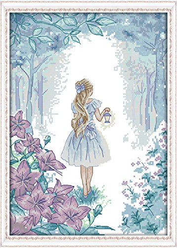 "Girl Cross Stitch Kit (ITSTITCH Needlecrafts Counted Cross Stitch Kits 14Count Embroidery Kits Cross Stitch Pattern for Girls ""11.4 x 15""inch A Princess Explores the Miracle (frameless).)"