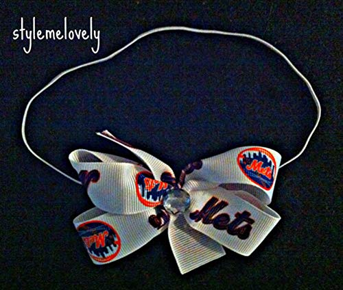 New York Mets Baby Girl Boutique Bow Elastic - Headband New York Mets