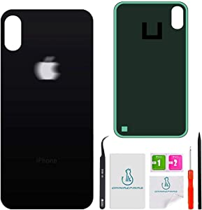 OmniRepairs Rear Back Glass Battery Door Cover Replacement Compatible for iPhone Xs Max Model (A1921, A2101, A2102, A2104) with Adhesive and Repair Toolkit (Black/Space Gray)