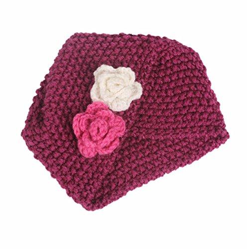 Qhome Winter Girls Knit Beanie Flower Knitted Turban Headband Kids Cap Acrylic Knitting Turbante Hat Hair accessories
