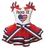 Cheap 4th July Dress PROUD OF USA Flag Heart White Shirt Red Petal Skirt Set Nb-8y (3-12 Months)