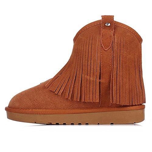 Donne Risham Western Cowboy Stile Stivali Da Neve Moda Alla Caviglia Caldo Pelliccia Foderato Nappe Stivali Da Neve Tan Sn2801 Us5